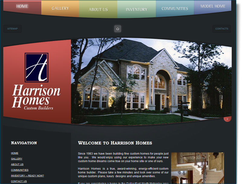 Construction website design for harrison homes your web for Home builder website