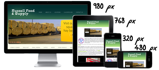 Responsive website design for russell feed