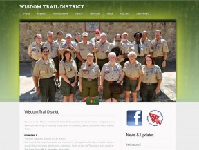 Screen capture of the newly designed website for the non profit BSA Wisdom Trail District The Boy Scouts of America district for southwest Dallas county  ...