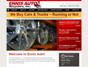 screenshot of the web design for ennis auto recyclers automotive website