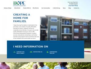 Hope Housing Foundation Screenshot